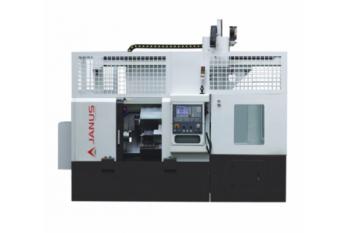 Tokarka CNC ze skońsnym łożem oraz automatem do podawania detali